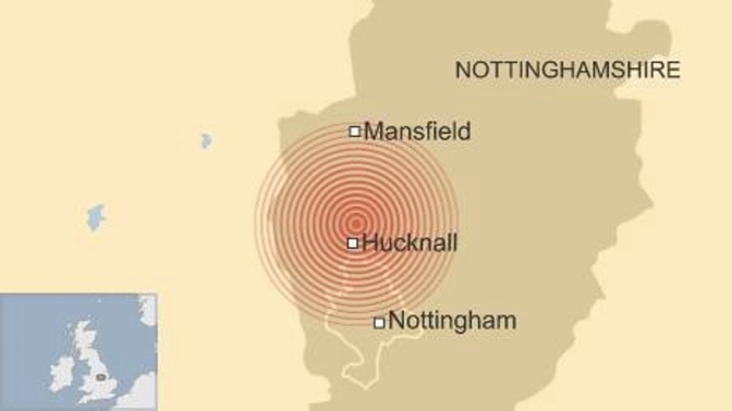 'Loud boom' as earthquake hits Nottinghamshire